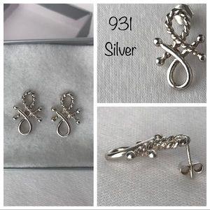 931 Silver Nautical Rope Earrings